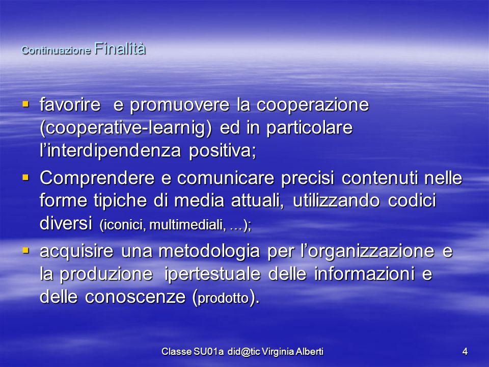 Classe SU01a did@tic Virginia Alberti4 Continuazione Finalità  favorire e promuovere la cooperazione (cooperative-learnig) ed in particolare l'interd