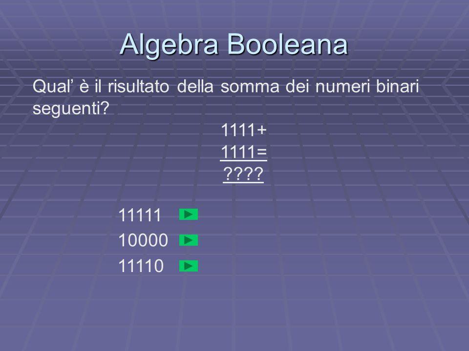 Algebra Booleana Qual' è il risultato della somma dei numeri binari seguenti.