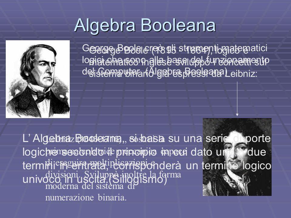 George Boole (1815 - 1864), logico e matematico inglese sviluppò i concetti sul sistema binario già espressi da Leibniz: Leibniz (1646-1716), costruì la prima calcolatrice meccanica capace di eseguire moltiplicazioni e divisioni.