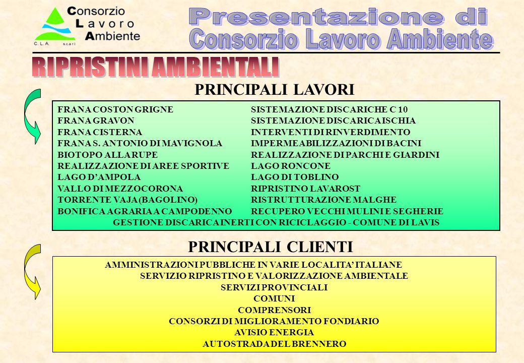 AMMINISTRAZIONI PUBBLICHE IN VARIE LOCALITA' ITALIANE SERVIZIO RIPRISTINO E VALORIZZAZIONE AMBIENTALE SERVIZI PROVINCIALI COMUNI COMPRENSORI CONSORZI