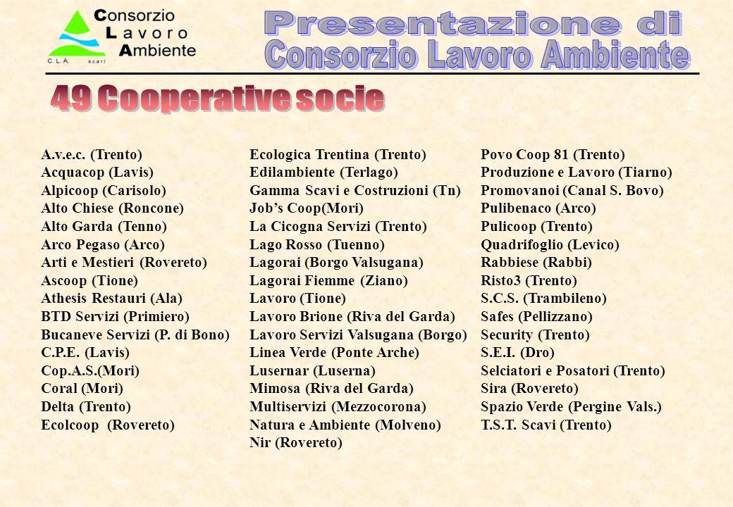 A.v.e.c. (Trento) Acquacop (Lavis) Alpicoop (Carisolo) Alto Chiese (Roncone) Alto Garda (Tenno) Arco Pegaso (Arco) Arti e Mestieri (Rovereto) Ascoop (
