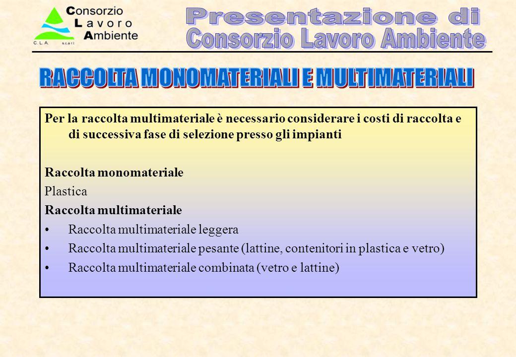 Per la raccolta multimateriale è necessario considerare i costi di raccolta e di successiva fase di selezione presso gli impianti Raccolta monomateria