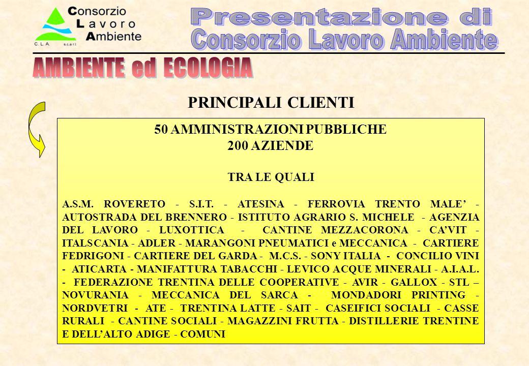 PRINCIPALI CLIENTI 50 AMMINISTRAZIONI PUBBLICHE 200 AZIENDE TRA LE QUALI A.S.M. ROVERETO - S.I.T. - ATESINA - FERROVIA TRENTO MALE' - AUTOSTRADA DEL B