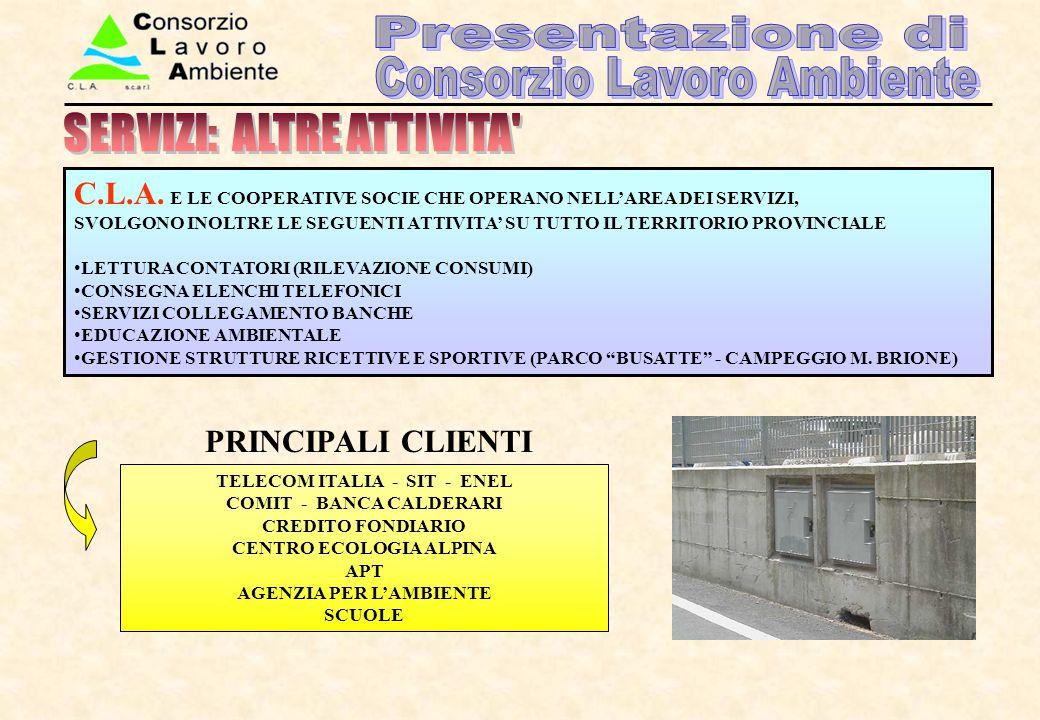 TELECOM ITALIA - SIT - ENEL COMIT - BANCA CALDERARI CREDITO FONDIARIO CENTRO ECOLOGIA ALPINA APT AGENZIA PER L'AMBIENTE SCUOLE C.L.A. E LE COOPERATIVE