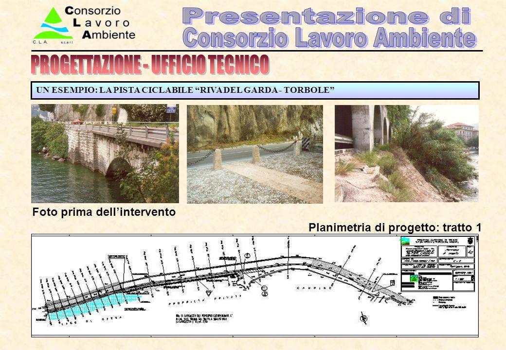 """UN ESEMPIO: LA PISTA CICLABILE """"RIVA DEL GARDA - TORBOLE"""" Foto prima dell'intervento Planimetria di progetto: tratto 1"""