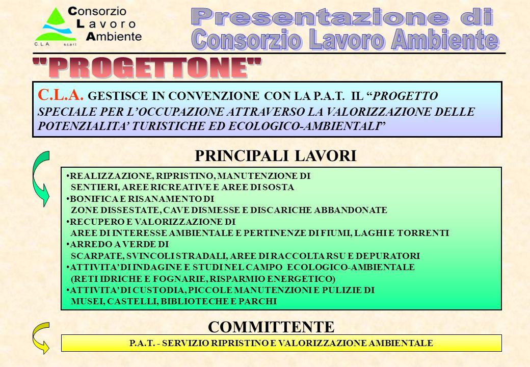 P.A.T. - SERVIZIO RIPRISTINO E VALORIZZAZIONE AMBIENTALE REALIZZAZIONE, RIPRISTINO, MANUTENZIONE DI SENTIERI, AREE RICREATIVE E AREE DI SOSTA BONIFICA