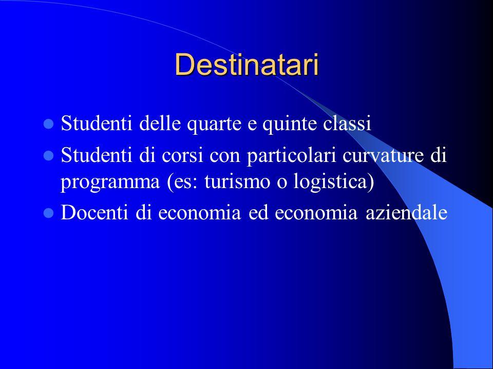 Destinatari Studenti delle quarte e quinte classi Studenti di corsi con particolari curvature di programma (es: turismo o logistica) Docenti di economia ed economia aziendale