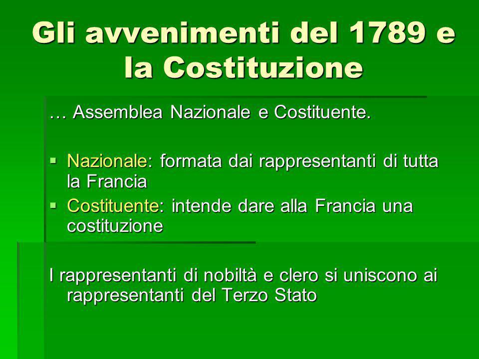 Gli avvenimenti del 1789 e la Costituzione … Assemblea Nazionale e Costituente.  Nazionale: formata dai rappresentanti di tutta la Francia  Costitue