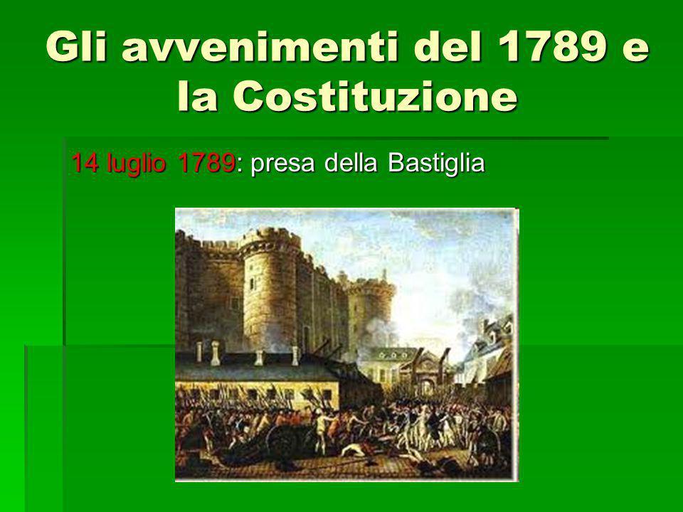 Gli avvenimenti del 1789 e la Costituzione 14 luglio 1789: presa della Bastiglia