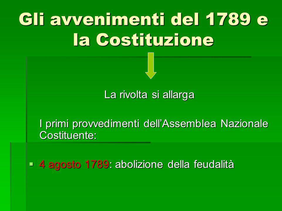 La rivolta si allarga I primi provvedimenti dell'Assemblea Nazionale Costituente:  4 agosto 1789: abolizione della feudalità