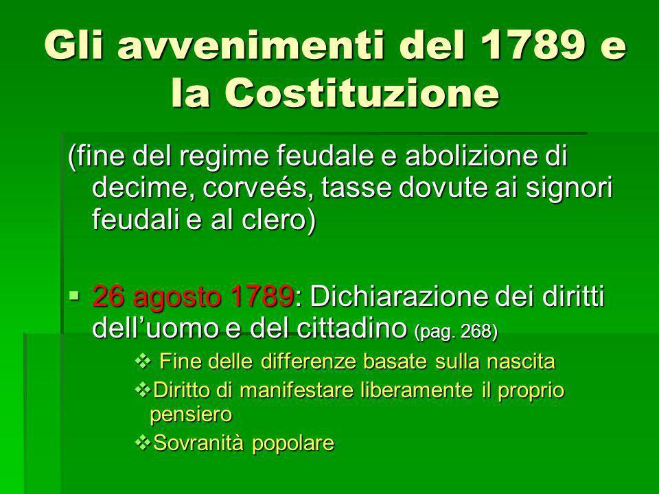 Gli avvenimenti del 1789 e la Costituzione (fine del regime feudale e abolizione di decime, corveés, tasse dovute ai signori feudali e al clero)  26