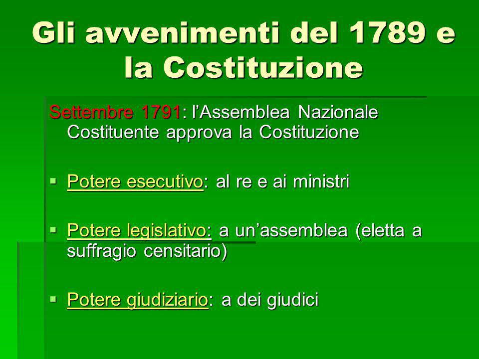 Settembre 1791: l'Assemblea Nazionale Costituente approva la Costituzione  Potere esecutivo: al re e ai ministri  Potere legislativo: a un'assemblea