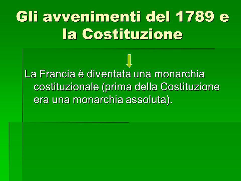 Gli avvenimenti del 1789 e la Costituzione La Francia è diventata una monarchia costituzionale (prima della Costituzione era una monarchia assoluta).