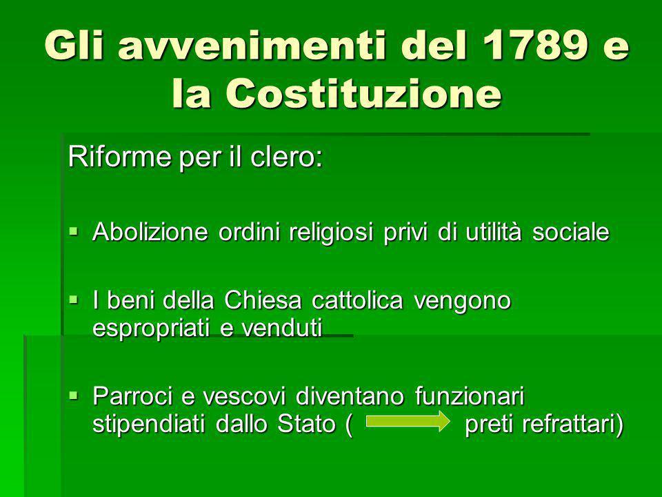 Gli avvenimenti del 1789 e la Costituzione Riforme per il clero:  Abolizione ordini religiosi privi di utilità sociale  I beni della Chiesa cattolic