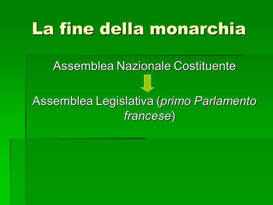 La fine della monarchia Assemblea Nazionale Costituente Assemblea Legislativa (primo Parlamento francese)