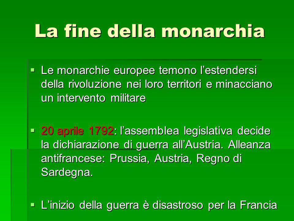La fine della monarchia  Le monarchie europee temono l'estendersi della rivoluzione nei loro territori e minacciano un intervento militare  20 april
