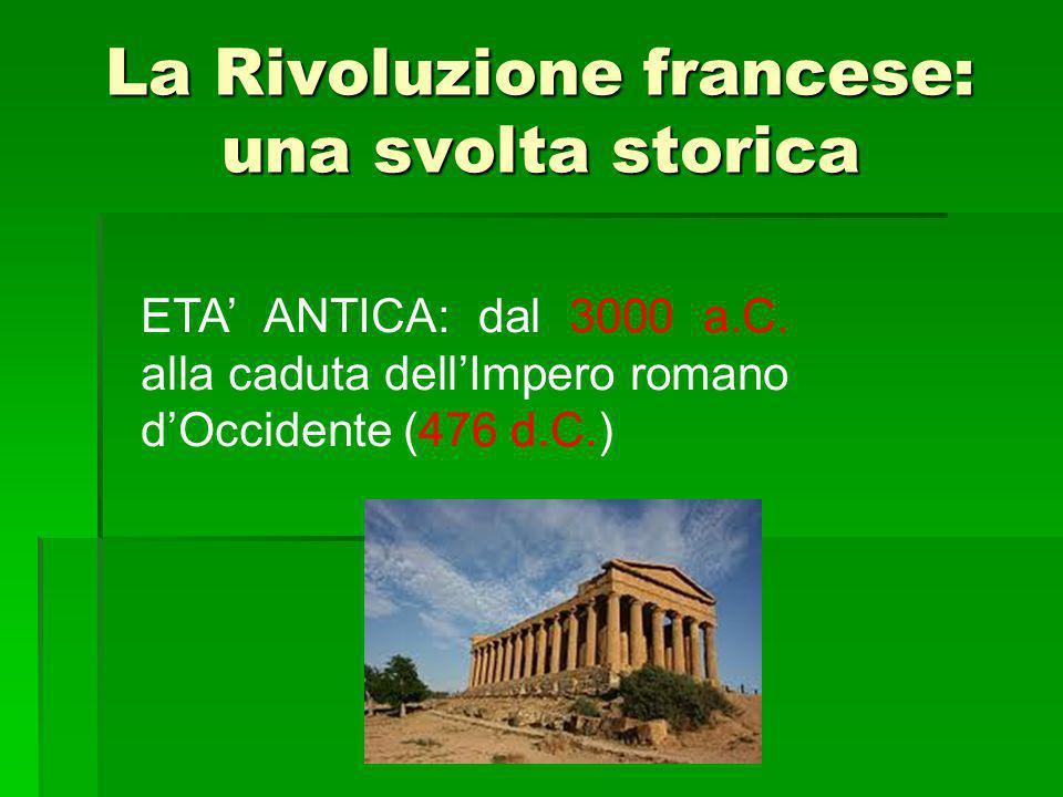 La Rivoluzione francese: una svolta storica ETA' ANTICA: dal 3000 a.C. alla caduta dell'Impero romano d'Occidente (476 d.C.)
