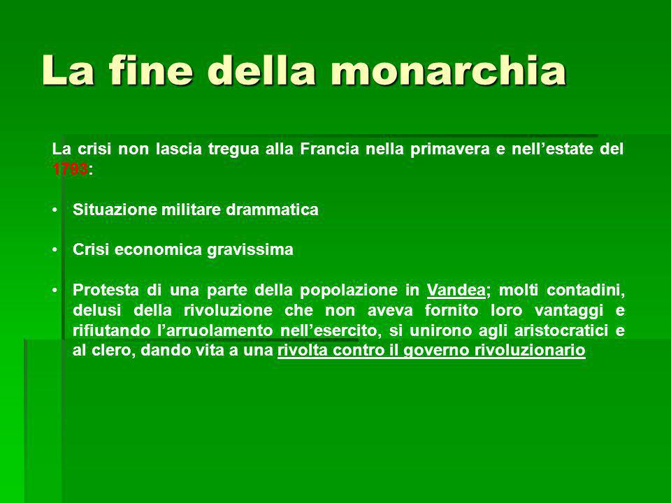 La fine della monarchia La crisi non lascia tregua alla Francia nella primavera e nell'estate del 1793: Situazione militare drammatica Crisi economica