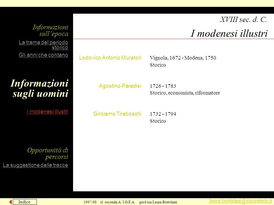 Indice Avanti laura.bortolani@sincretech.it 1997-98 cl. seconda A I.G.E.A. prof.ssa Laura Bortolani Vignola, 1672 - Modena, 1750 Storico 1726 - 1783 S