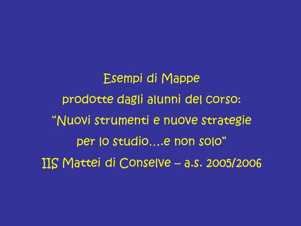 """Esempi di Mappe prodotte dagli alunni del corso: """"Nuovi strumenti e nuove strategie per lo studio….e non solo"""" IIS Mattei di Conselve – a.s. 2005/2006"""