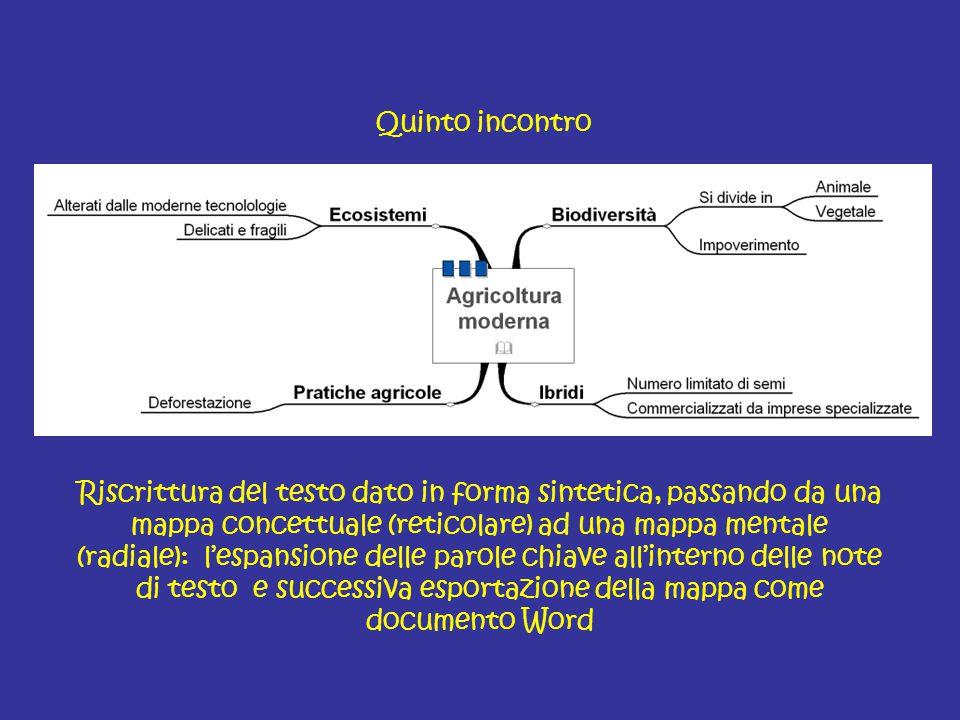 Quinto incontro Riscrittura del testo dato in forma sintetica, passando da una mappa concettuale (reticolare) ad una mappa mentale (radiale): l'espans