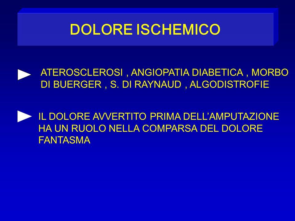 DOLORE ISCHEMICO ATEROSCLEROSI, ANGIOPATIA DIABETICA, MORBO DI BUERGER, S. DI RAYNAUD, ALGODISTROFIE IL DOLORE AVVERTITO PRIMA DELL'AMPUTAZIONE HA UN