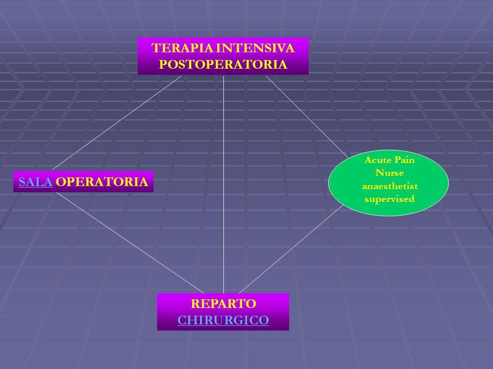 SALASALA OPERATORIA REPARTO CHIRURGICO CHIRURGICO TERAPIA INTENSIVA POSTOPERATORIA Acute Pain Nurse anaesthetist supervised