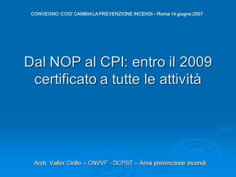 Dal NOP al CPI: entro il 2009 certificato a tutte le attività Arch. Valter Cirillo – CNVVF - DCPST – Area prevenzione incendi CONVEGNO: COSI' CAMBIA L