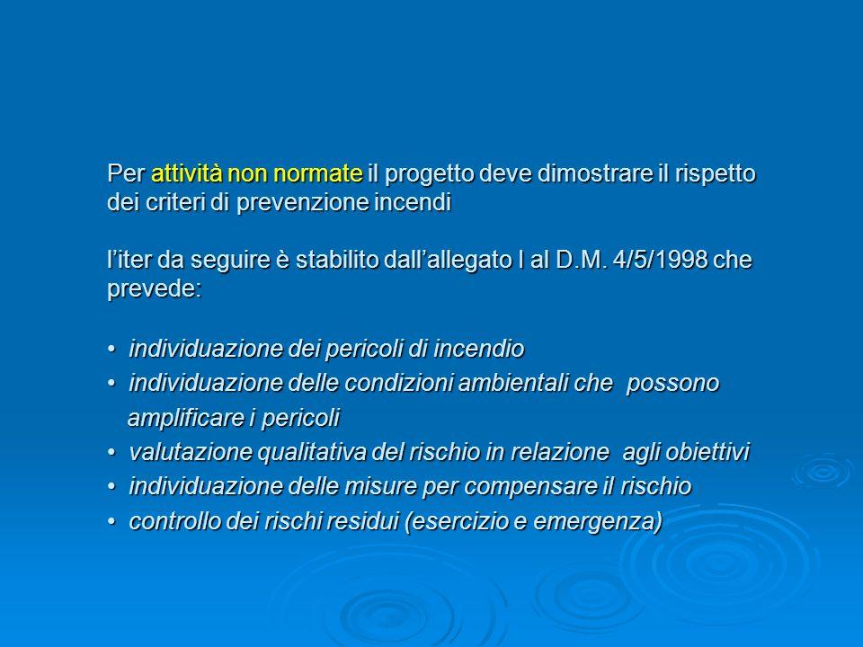 Per attività non normate il progetto deve dimostrare il rispetto dei criteri di prevenzione incendi l'iter da seguire è stabilito dall'allegato I al D