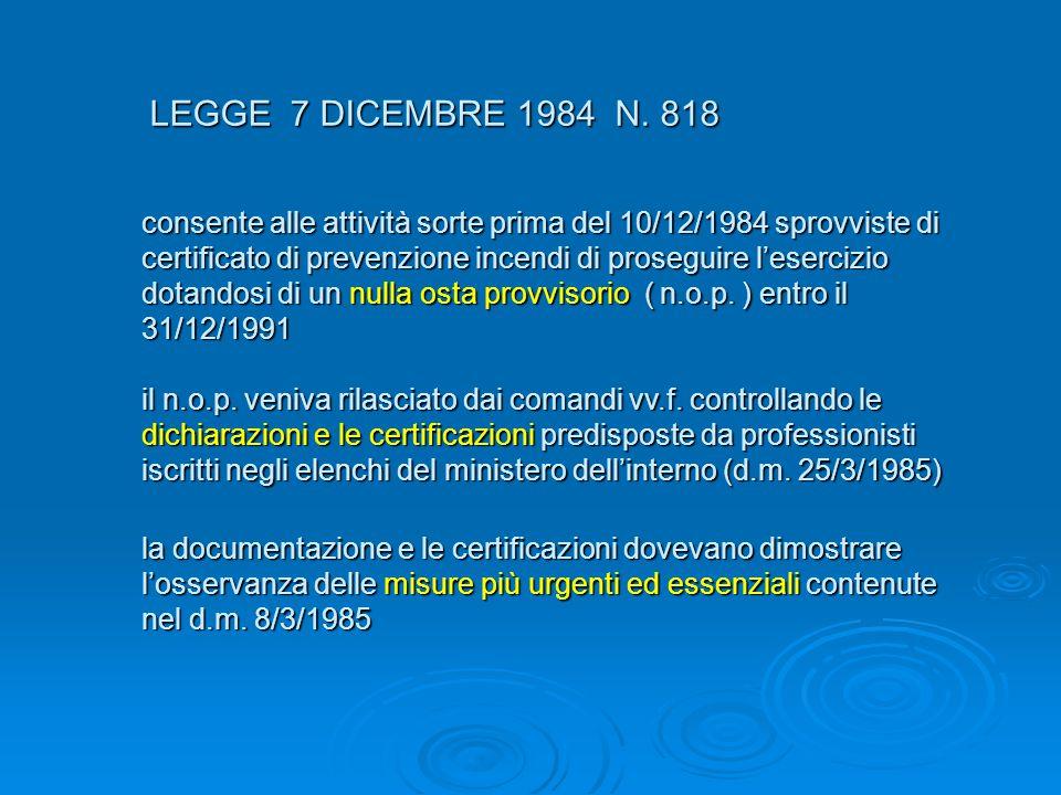 LEGGE 7 DICEMBRE 1984 N. 818 LEGGE 7 DICEMBRE 1984 N. 818 consente alle attività sorte prima del 10/12/1984 sprovviste di certificato di prevenzione i