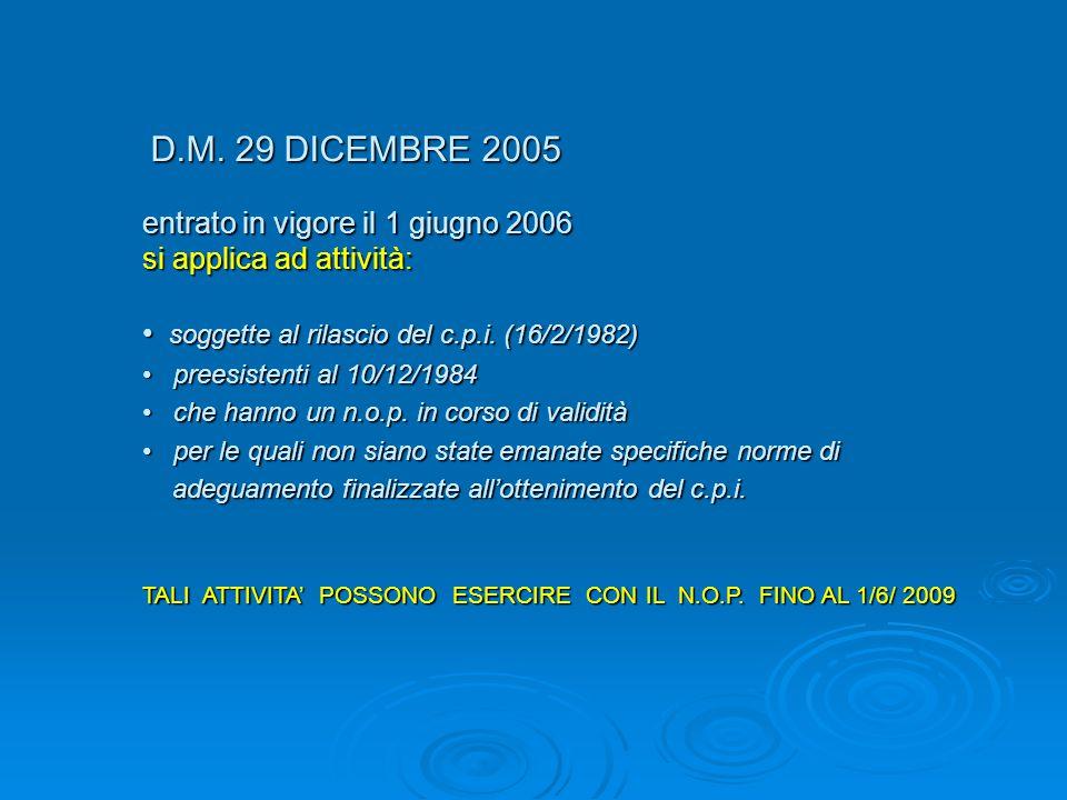 D.M. 29 DICEMBRE 2005 D.M. 29 DICEMBRE 2005 entrato in vigore il 1 giugno 2006 si applica ad attività: soggette al rilascio del c.p.i. (16/2/1982) sog