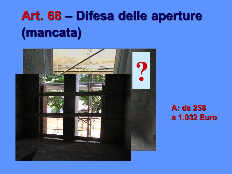 Art. 68 – Difesa delle aperture (mancata) A: da 258 a 1.032 Euro ?