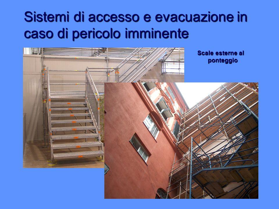 Sistemi di accesso e evacuazione in caso di pericolo imminente Scale esterne al ponteggio