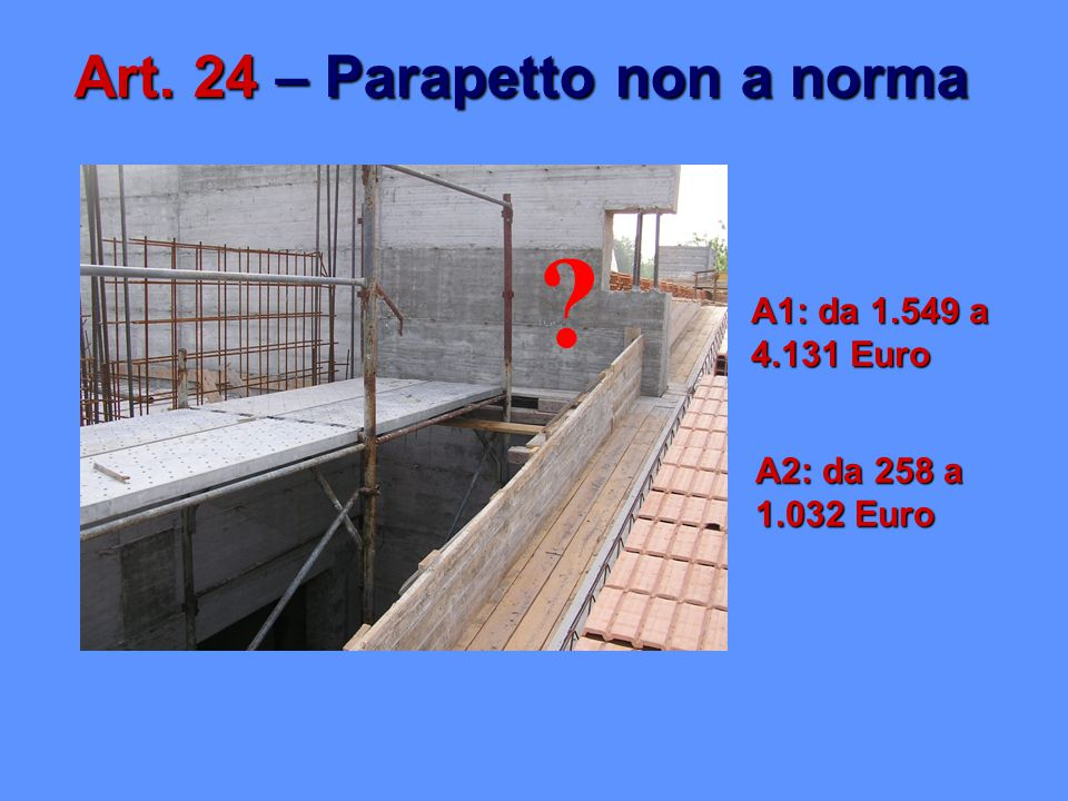 Art. 24 – Parapetto non a norma A1: da 1.549 a 4.131 Euro A2: da 258 a 1.032 Euro ?
