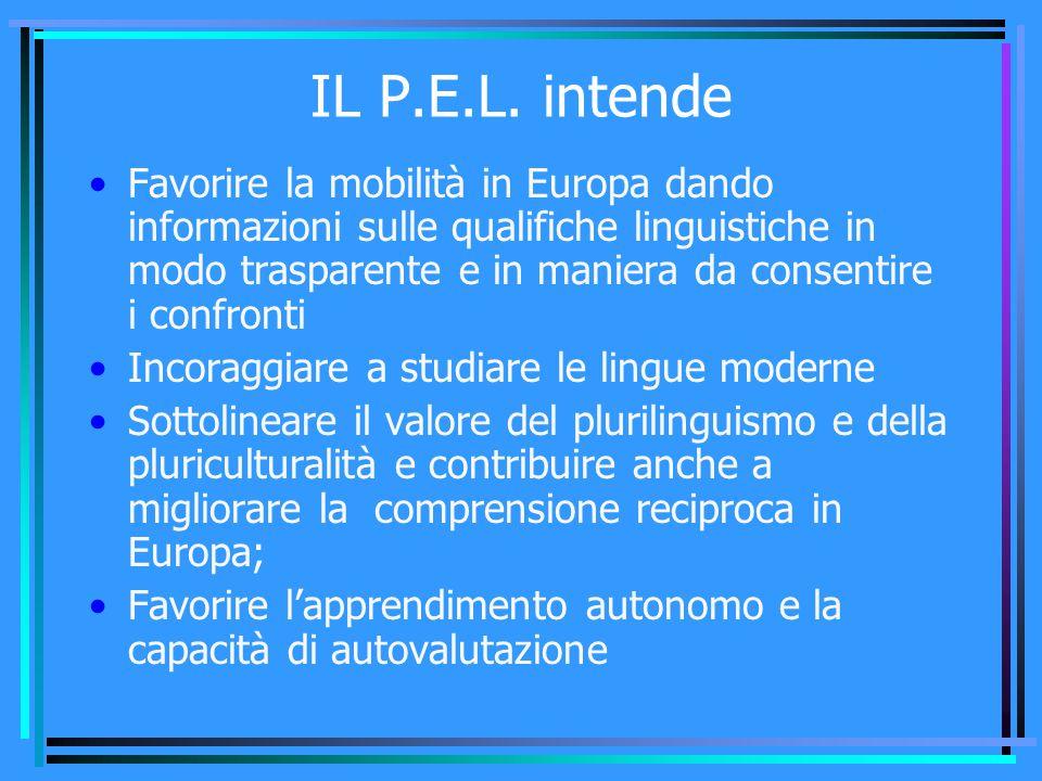 IL P.E.L. intende Favorire la mobilità in Europa dando informazioni sulle qualifiche linguistiche in modo trasparente e in maniera da consentire i con