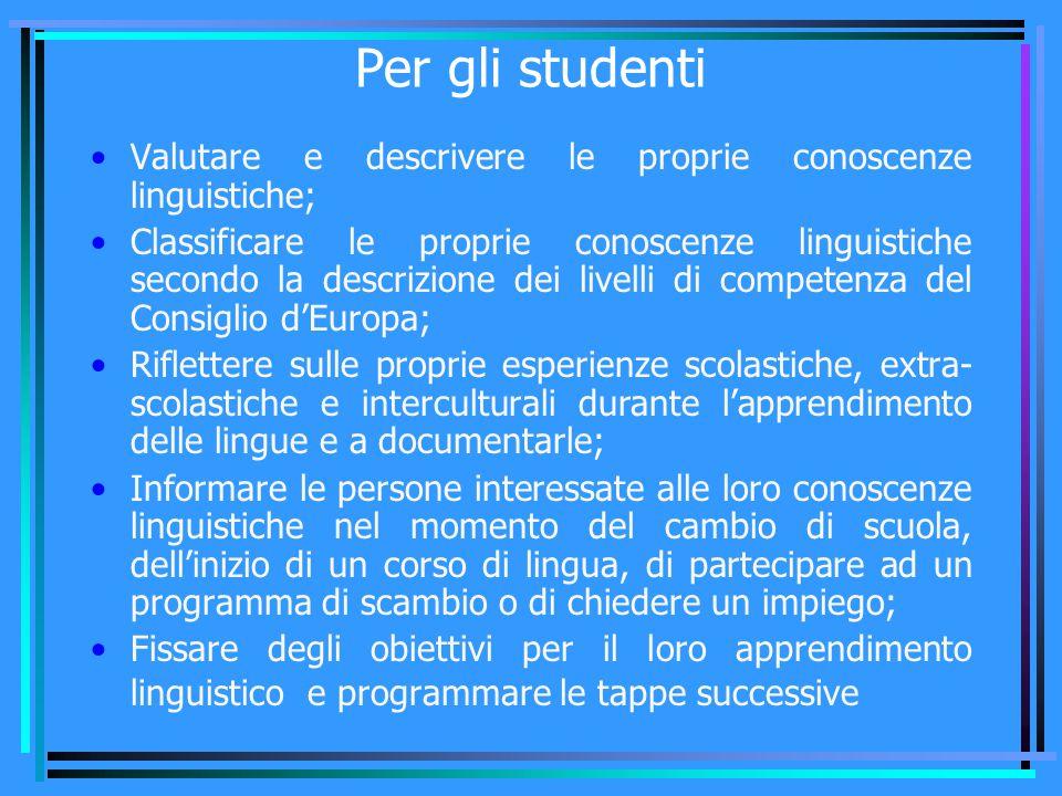 Per gli studenti Valutare e descrivere le proprie conoscenze linguistiche; Classificare le proprie conoscenze linguistiche secondo la descrizione dei