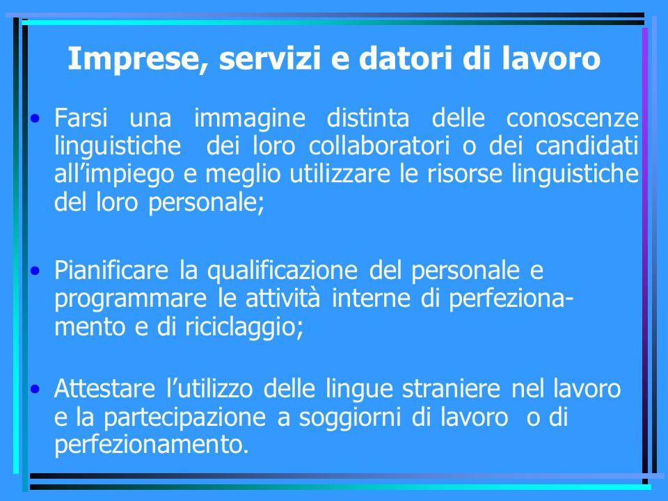 Imprese, servizi e datori di lavoro Farsi una immagine distinta delle conoscenze linguistiche dei loro collaboratori o dei candidati all'impiego e meg