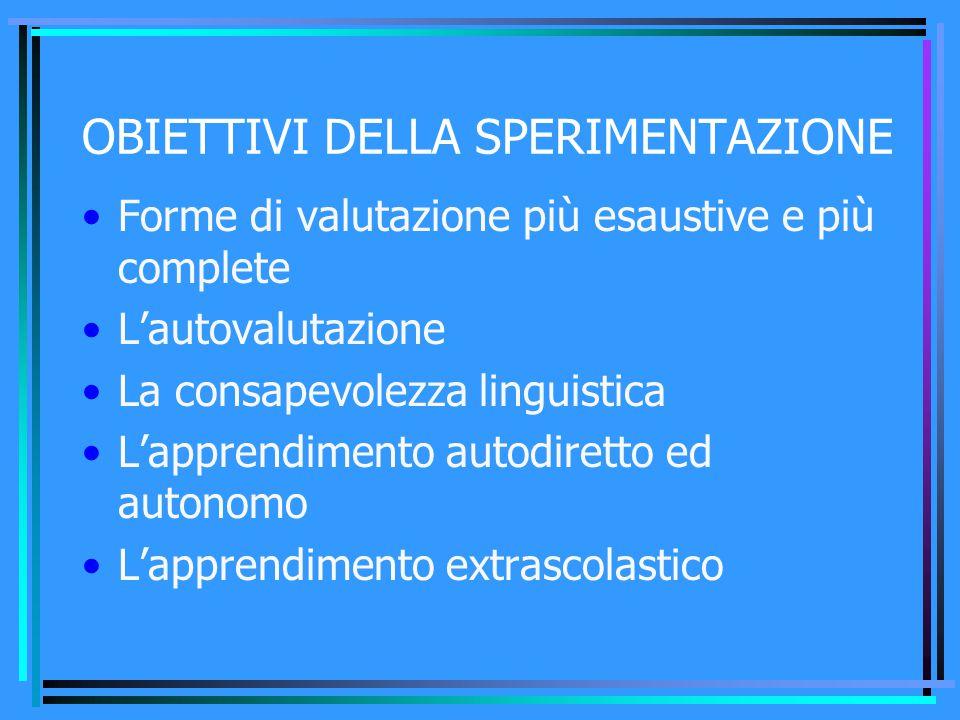 OBIETTIVI DELLA SPERIMENTAZIONE Forme di valutazione più esaustive e più complete L'autovalutazione La consapevolezza linguistica L'apprendimento auto