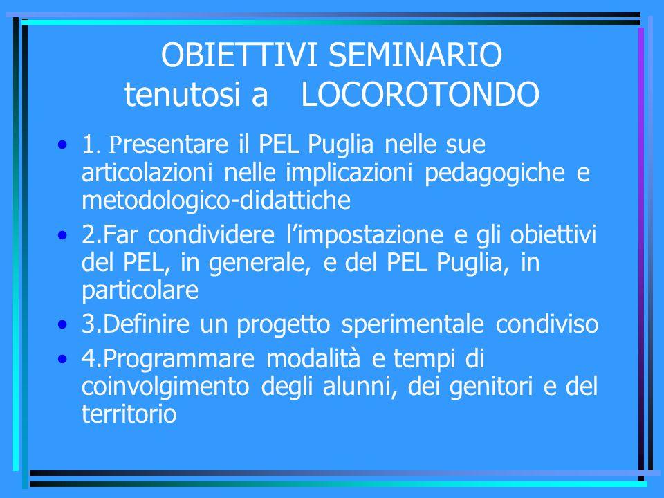 OBIETTIVI SEMINARIO tenutosi a LOCOROTONDO 5.Far emergere e condividere le esperienze già vissute da alcuni dei docenti nell'uso del PEL 6.