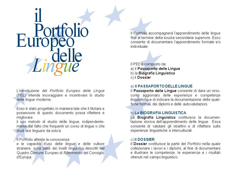 L'introduzione del Portfolio Europeo delle Lingue (PEL) intende incoraggiare e incentivare lo studio delle lingue moderne. Esso è stato progettato in
