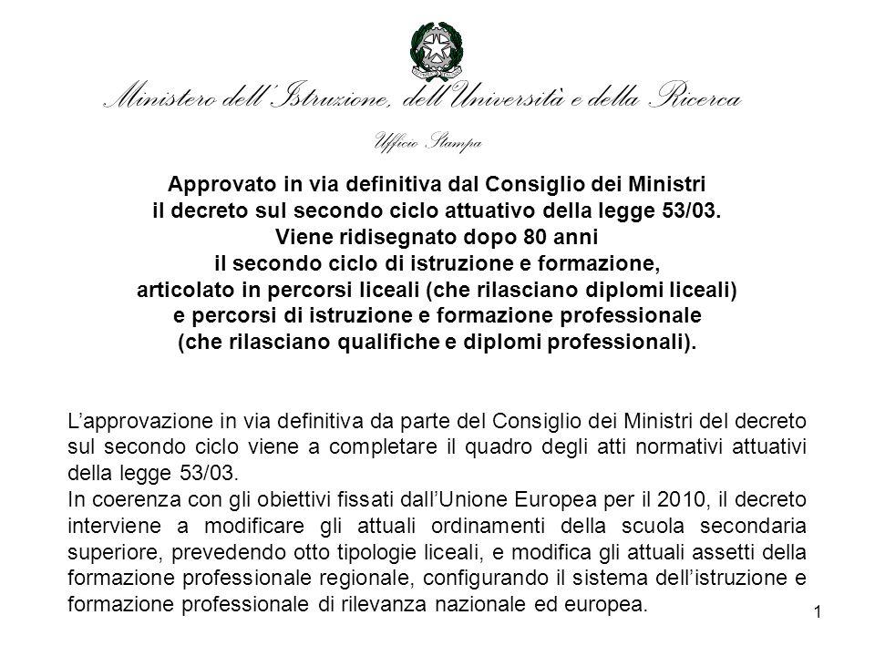 1 Approvato in via definitiva dal Consiglio dei Ministri il decreto sul secondo ciclo attuativo della legge 53/03.