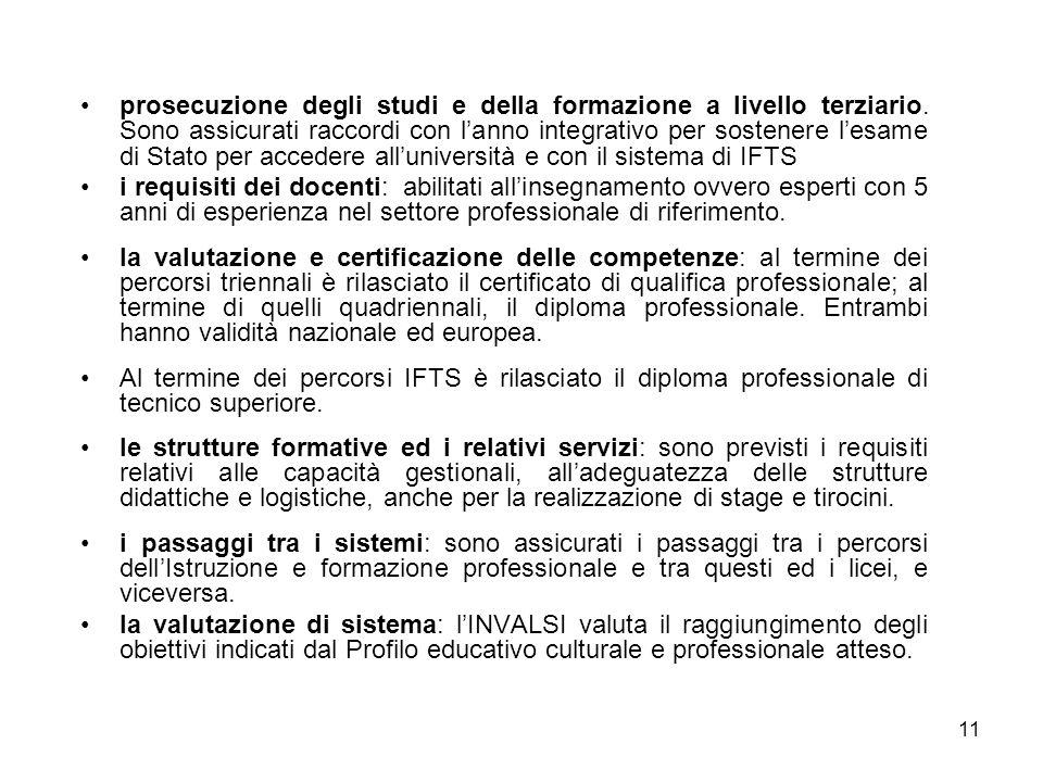 11 prosecuzione degli studi e della formazione a livello terziario. Sono assicurati raccordi con l'anno integrativo per sostenere l'esame di Stato per