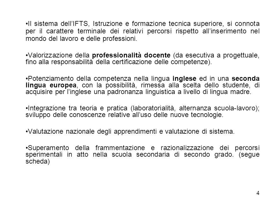 4 Il sistema dell'IFTS, Istruzione e formazione tecnica superiore, si connota per il carattere terminale dei relativi percorsi rispetto all'inseriment