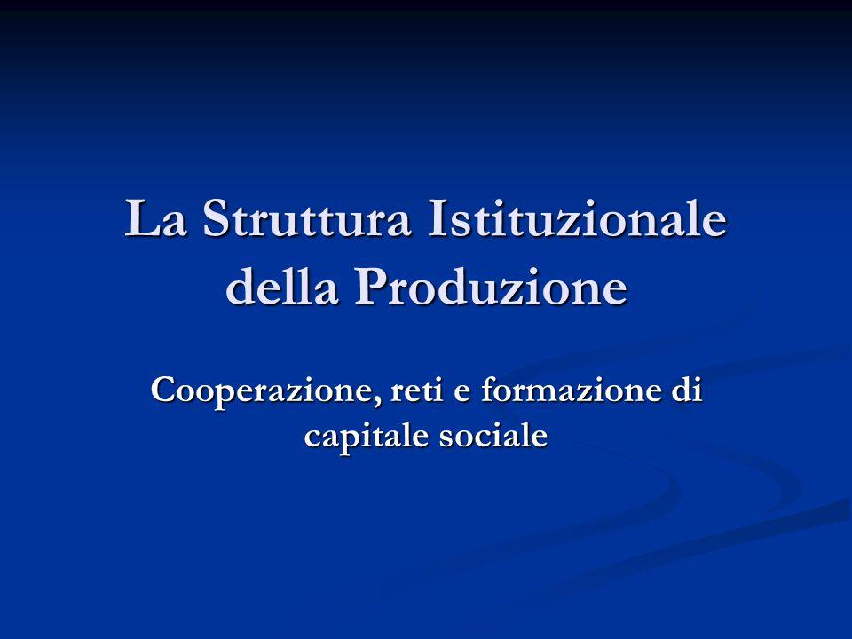 La Struttura Istituzionale della Produzione Cooperazione, reti e formazione di capitale sociale