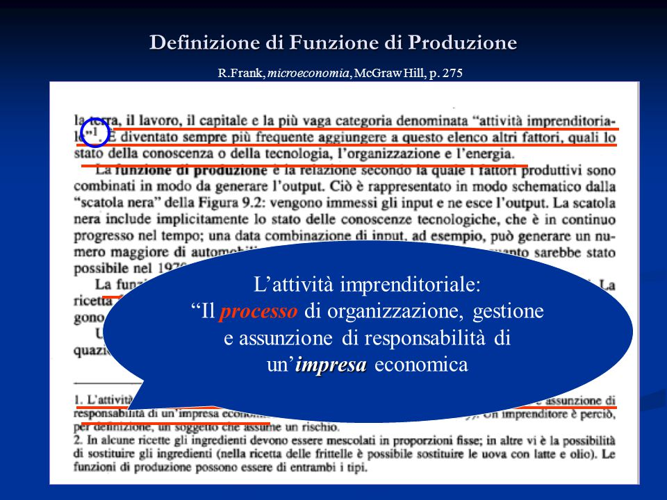 "Definizione di Funzione di Produzione L'attività imprenditoriale: impresa ""Il processo di organizzazione, gestione e assunzione di responsabilità di u"