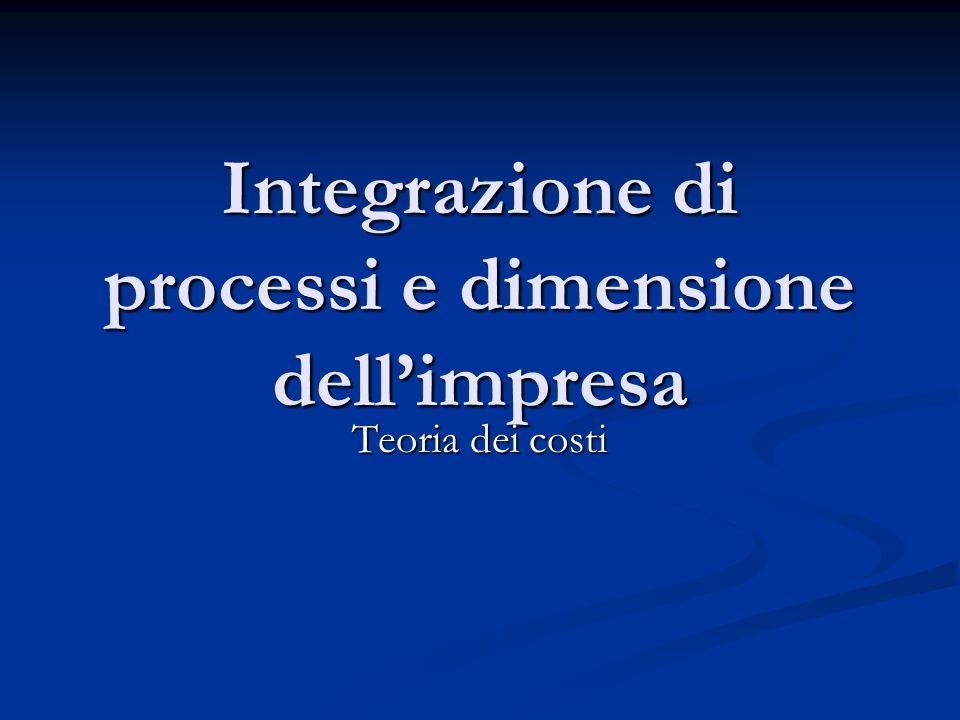 Integrazione di processi e dimensione dell'impresa Teoria dei costi