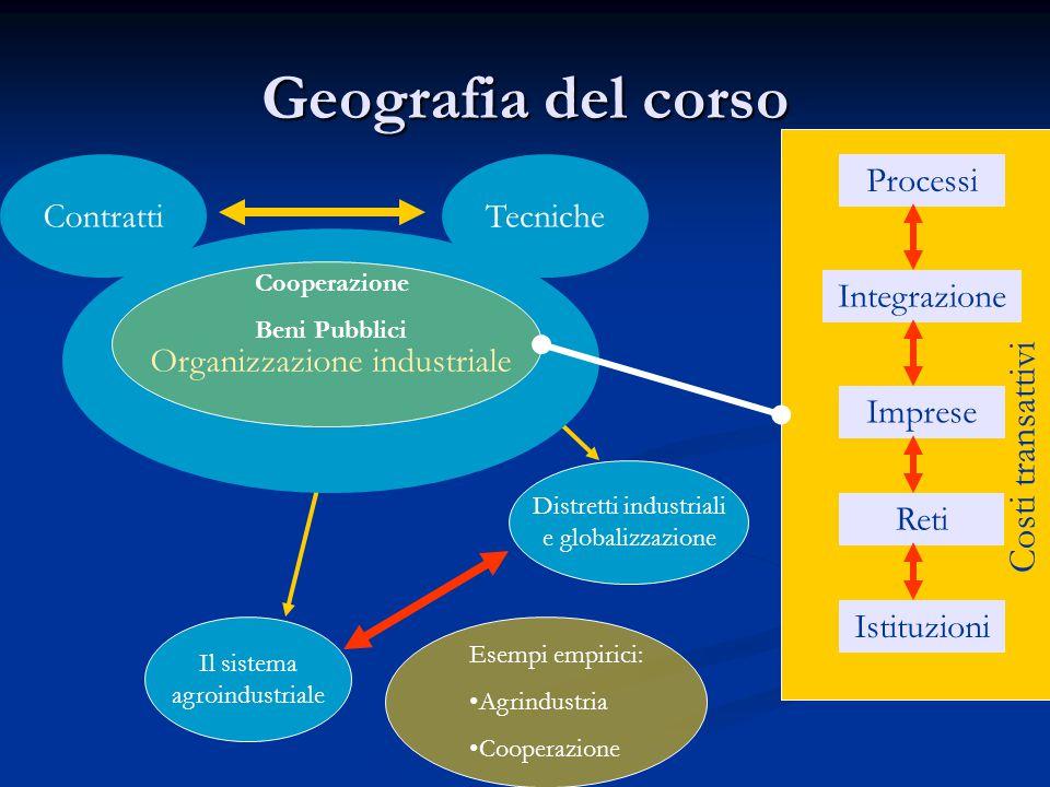 Geografia del corso Contratti Organizzazione industriale Distretti industriali e globalizzazione Il sistema agroindustriale Processi Integrazione Reti