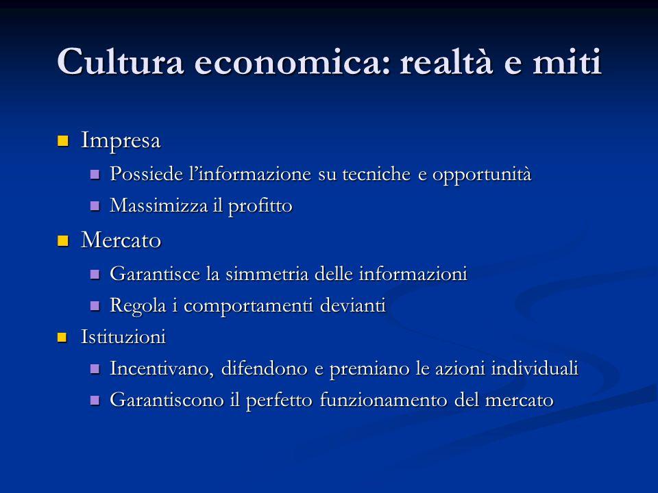 Cultura economica: realtà e miti Impresa Impresa Possiede l'informazione su tecniche e opportunità Possiede l'informazione su tecniche e opportunità M