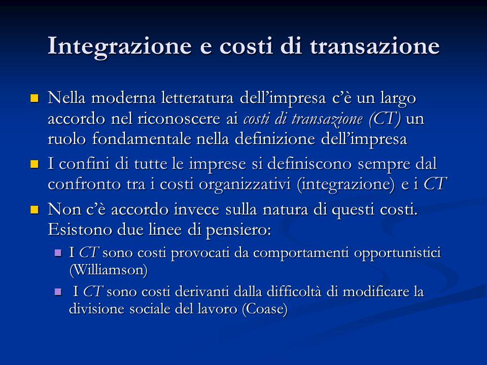 Integrazione e costi di transazione Nella moderna letteratura dell'impresa c'è un largo accordo nel riconoscere ai costi di transazione (CT) un ruolo
