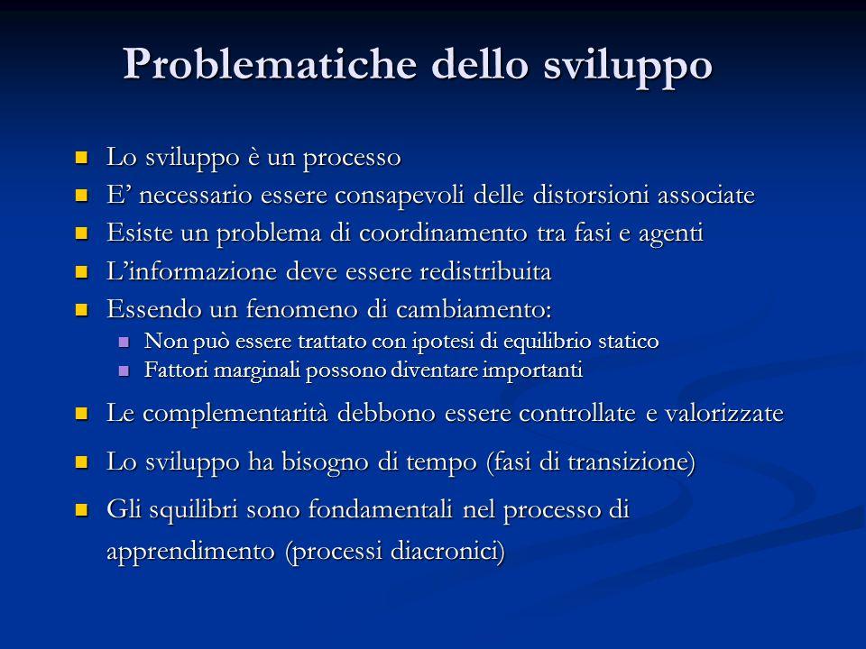Problematiche dello sviluppo Lo sviluppo è un processo Lo sviluppo è un processo E' necessario essere consapevoli delle distorsioni associate E' neces